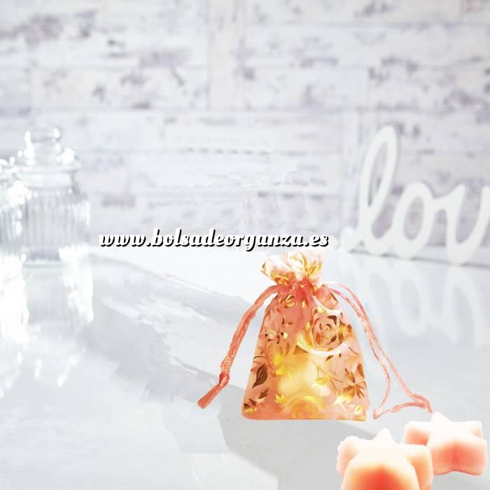 Imagen Tamaño 07x09 cms Bolsa de Organza Estampada 7x9 cm - ROSA CON ROSAS DORADAS (Últimas Unidades)