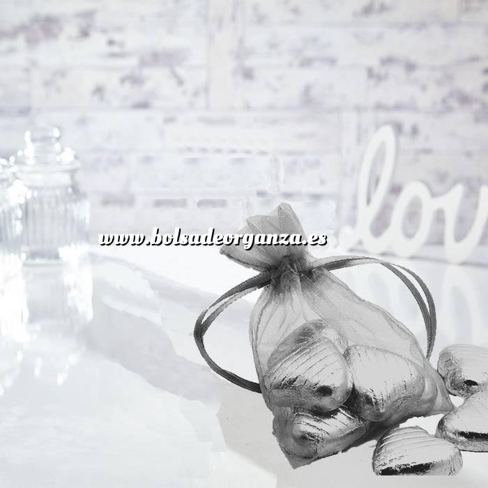 Imagen Tamaño 09x12 cms. Bolsa de organza Gris Plata 9x12 capacidad 9x9 cms.