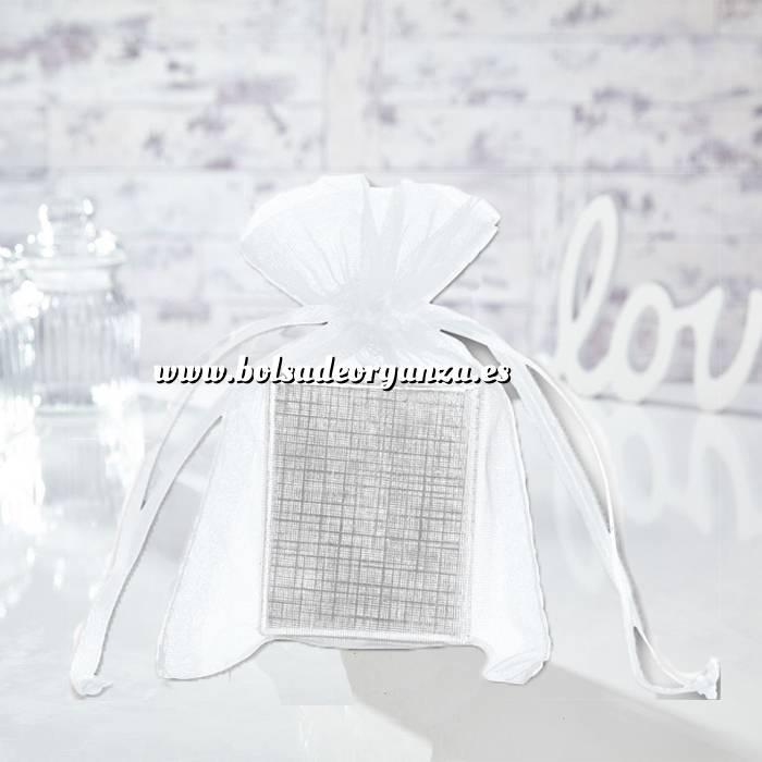 Imagen Tamaño 10x15 cms. Bolsa de organza Blanca 10x15 capacidad 10x12 cms.