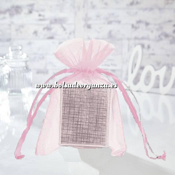 Imagen Tamaño 10x15 cms. Bolsa de organza Rosa 10x15 capacidad 10x12 cms.