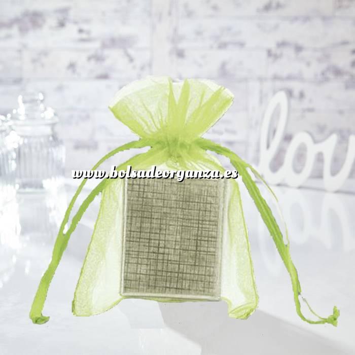 Imagen Tamaño 10x15 cms. Bolsa de organza Verde 10x15 capacidad 10x12 cms.