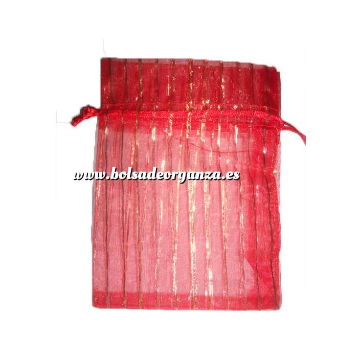 Imagen Tamaño 11x16 cms. Bolsa de Organza Estampada 11x16 cm - ROJO CON RAYAS DORADAS