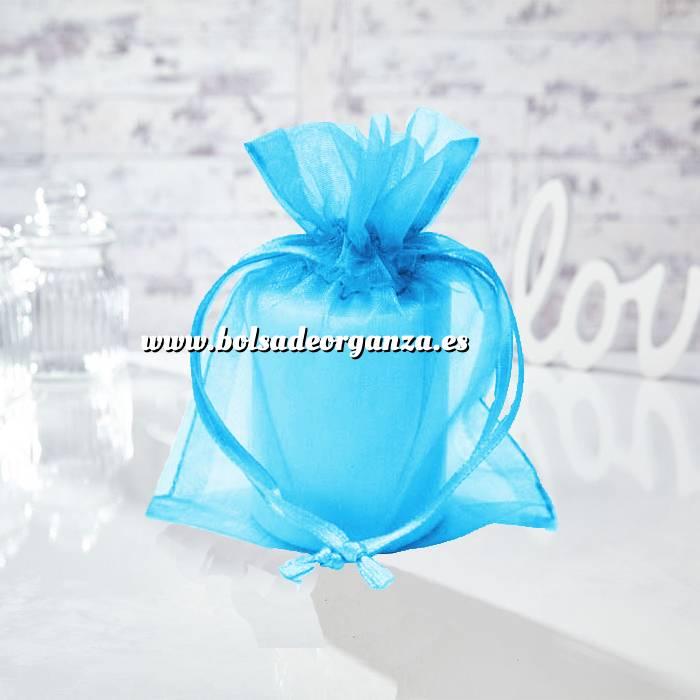 Imagen Tamaño 13.5x19 cms. Bolsa de organza Turquesa 13.5x19 capacidad 13x17 cms.