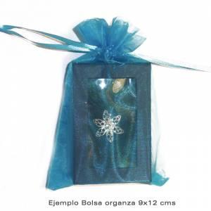 Imagen Tamaño 09x12 cms. Bolsa de organza Celeste 9x12 capacidad 9x9 cms.