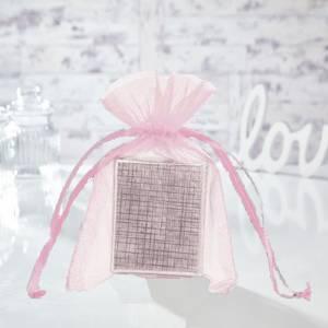 Tamaño 11x16 cms. - Bolsa de organza Rosa 11x16 capacidad 11x14 cms.