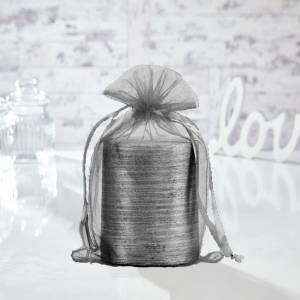 Tamaño 15.5x24 cms. - Bolsa de organza Gris Plata 15,5x24 capacidad 15x20 cms.