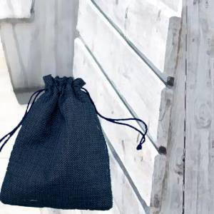 Bolsas de Yute 10x14 cm - Bolsa de Yute Azul Marino 10x14 capacidad 9x11 cms.