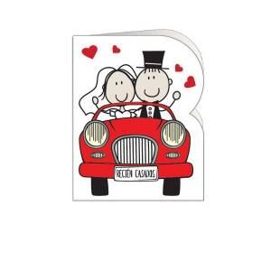 Etiquetas sin impresión - Lámina con 18 Etiquetas con diseño de BODA: Coche rojo acercandose (Recién casados)- Para personalizar a mano (Últimas unidades)