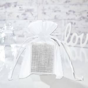 Tamaño 10x15 cms. - Bolsa de organza Blanca 10x15 capacidad 10x12 cms.