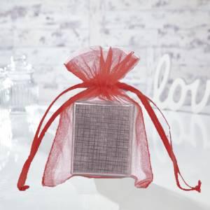 Tamaño 11x16 cms. - Bolsa de organza Roja 11x16 capacidad 11x14 cms.