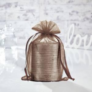 Tamaño 15.5x24 cms. - Bolsa de organza Marrón 15,5x24 capacidad 15x20 cms. (Últimas Unidades)